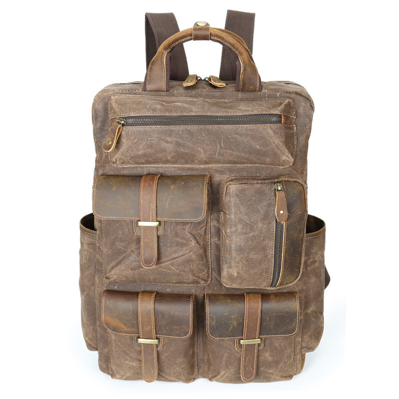 Nesitu High Quality Large Capacity Vintage Army Green Grey Coffee Canvas Women Men Backpacks 14'' Laptop Men's Travel Bags M5351 army green vintage women