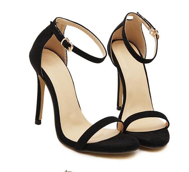 Estilo do verão Das Sandálias Das Mulheres Sapatos de Salto Alto Senhoras Sexy Aberto toe Tornozelo fivela Salto Stiletto OL sapatos de trabalho Plus Size 35-41