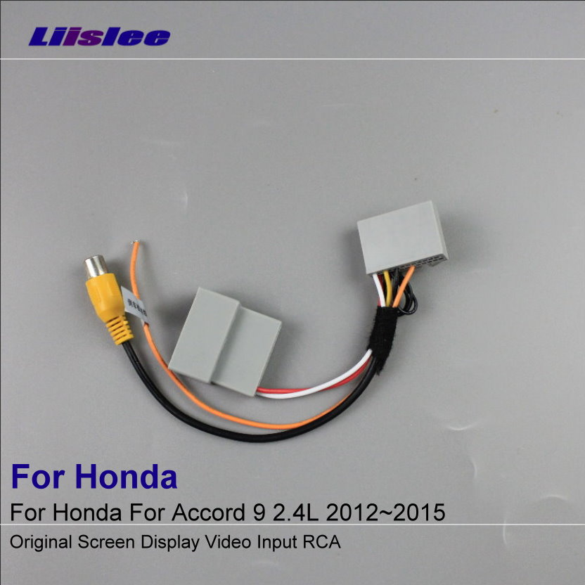 Liislee Bil Bakfra Kamera RCA Adapter Wire For Honda For Accord 9 2.4L 2012 ~ 2015 Original RCA Connector Converter Cable