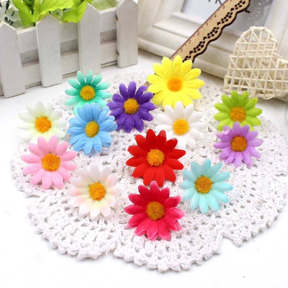 10pcs lot 4cm Gift Artificial Mini Coloth Sunflower Bouquet flowers for wedding car Marriage room party