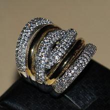 Tamaño 5-11 joyería lujo del envío gratis Diamonique blanco 14KT gold filled simulado banda diamante del regalo del anillo mujeres