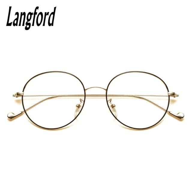 b7c45c8a25 Langford brand vintage round optical frames big glasses Slim light round  eyeglasses frame gold prescription 2708