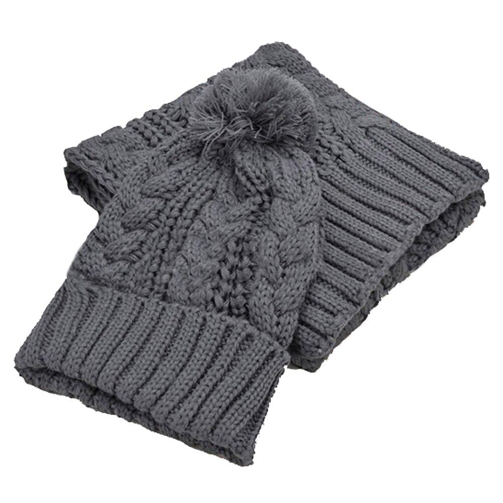 2 In 1 Set New Fashion Winter Women Warmer Thicken Scarf Wrap Hat Set Knitted Knitting Girls Collars Skullcaps KS-shipping