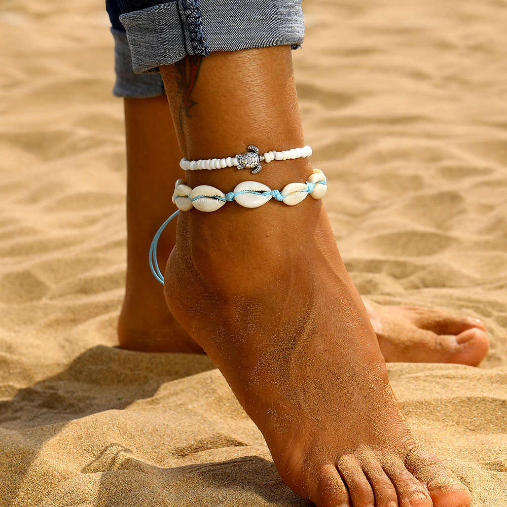 IPARAM 夏の海のビーチアンクレットボヘミアンレトロシェルカメビーズ手作りアンクレット & ブレスレット 2019 新しい脚の宝石類のギフト