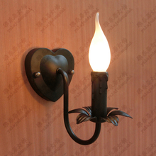 Fashion Bedroom Bedside Lamp Candle Mirror Front Lamps Bathroom Wall Rustic Wrought Iron