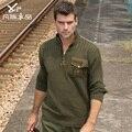 Бесплатная доставка новые мужские человек Толстый свитер мужской размер свободный плюс свитер военной случайные хлопка рубашка верхняя одежда на продажу