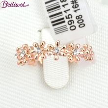 Wholesale 2017 Femininos Original Italina Brand Fashion Rose Gold Color Jewelry Flower Imitate Zircon Rings For Women(China)