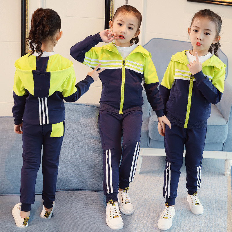 Autumn Kids Sport Suits Children Casual 2pcs Suit Jackets + Pants Sport Suit Outwear School Sets For Girls Y833 2017 autumn kids children training jogging suit football kits jerseys suits girls sweatshirt pants floral casual tracksuits