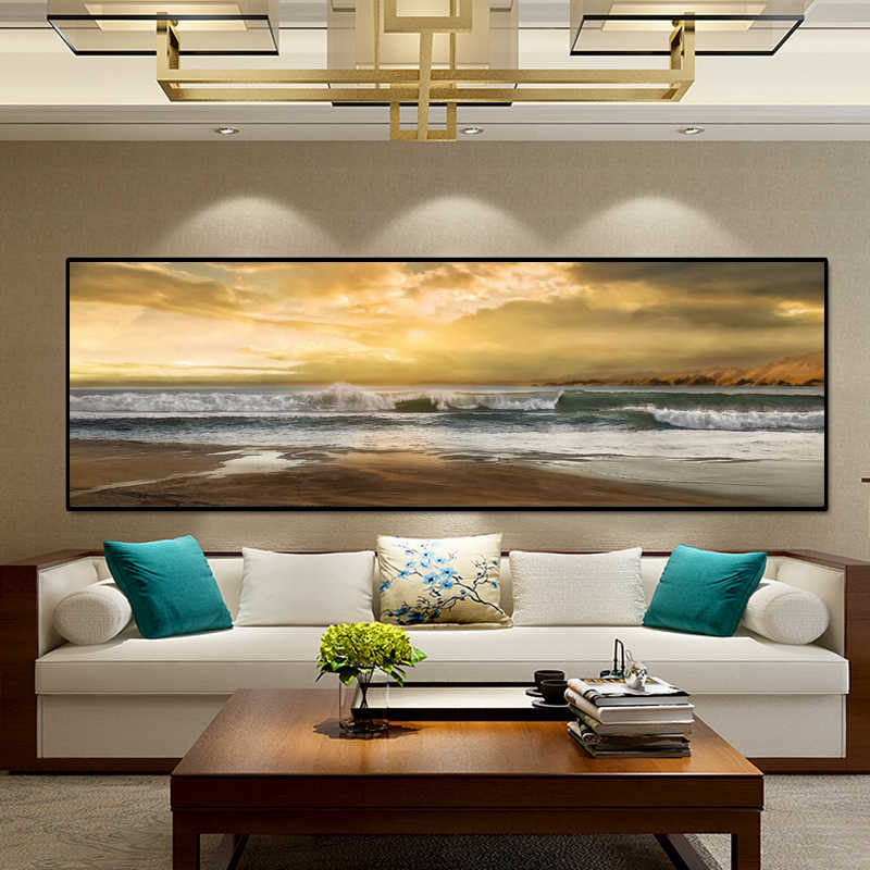 Modern Abstract Landscape Posters and Prints Wall Art Canvas Painting Wave and Beach Picture for Living Room Home Decor No Frame