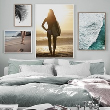 Sea Beach Surf Girl Palm Leaf Landscape Wall Art Canvas Painting Nordic Posters And Prints Pictures For Living Room Decor