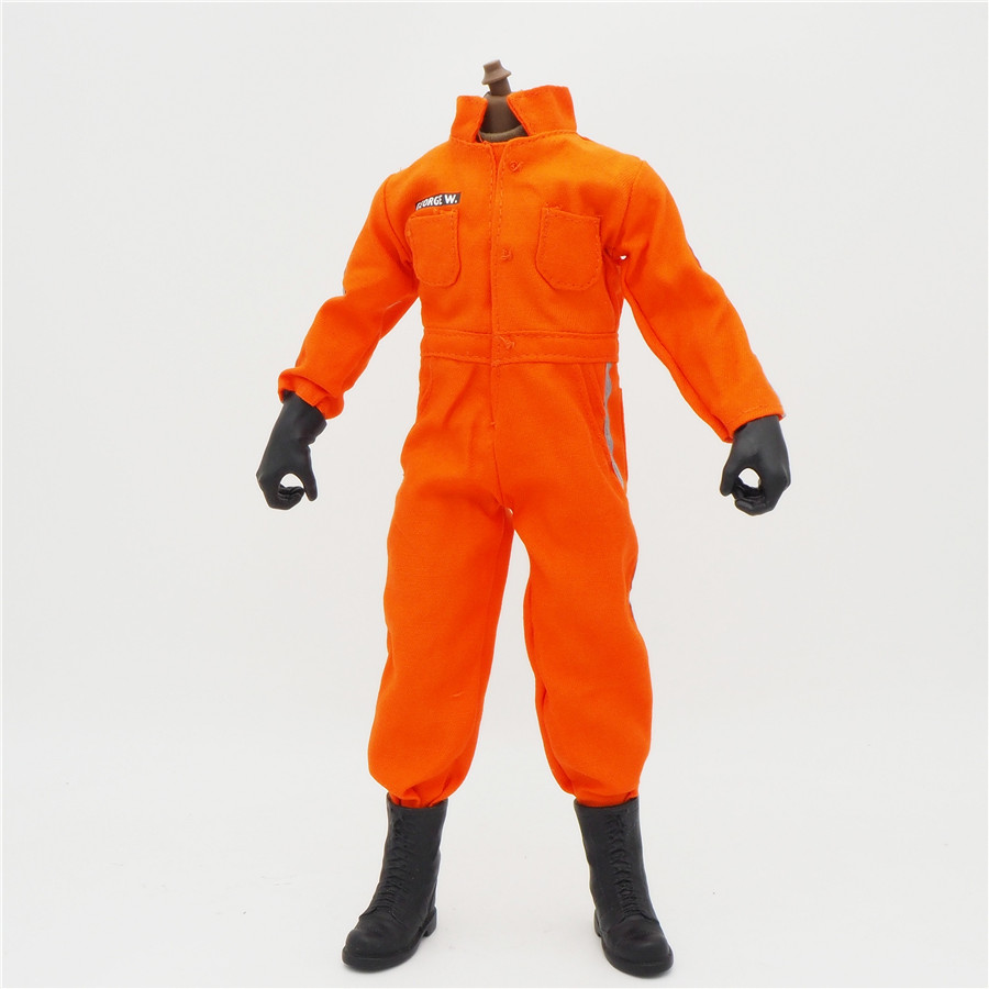 <font><b>1/6</b></font> <font><b>Scale</b></font> Coverall Uniforms Jacket OutFit Orange Prisoner Jumpsuit For 12inch Male Military Action Figure Body <font><b>Female</b></font> <font><b>Clothes</b></font> image