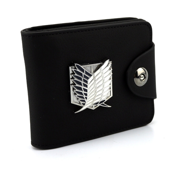 Anime Attack on titan PU leather wallet/purse black color w/ wings of liberty the sirens of titan