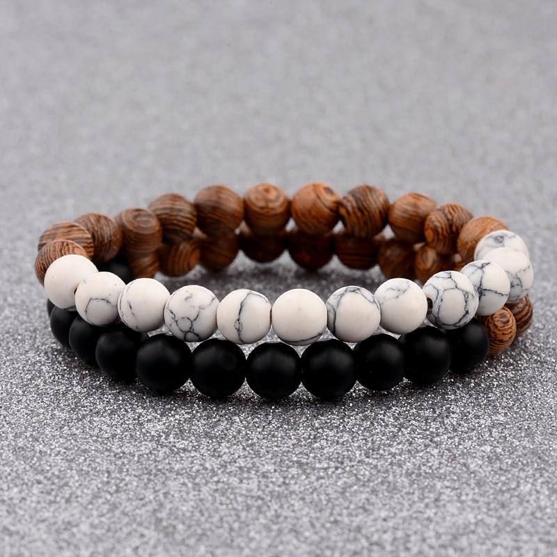 Douvei Fashion Natural Wood Beads Bracelets White Amp Black