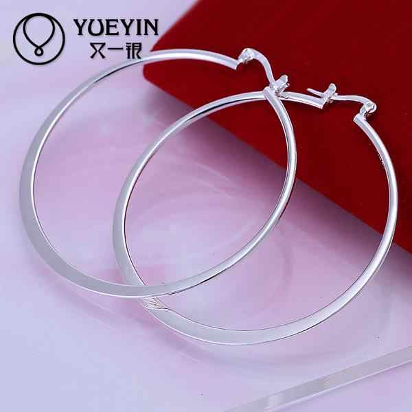 Wholesale silver plated hoop earrings for women big circle Exaggeration Sexy jewelry Ohrringe for day wear brilliant