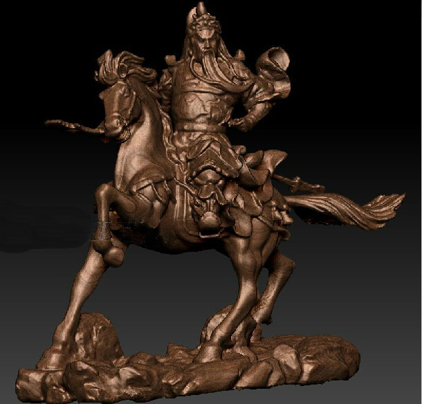 New Arrival 3d Model House Stl Relief For Cnc Machine In STL File Format Kwan Kung Ride On A Horse