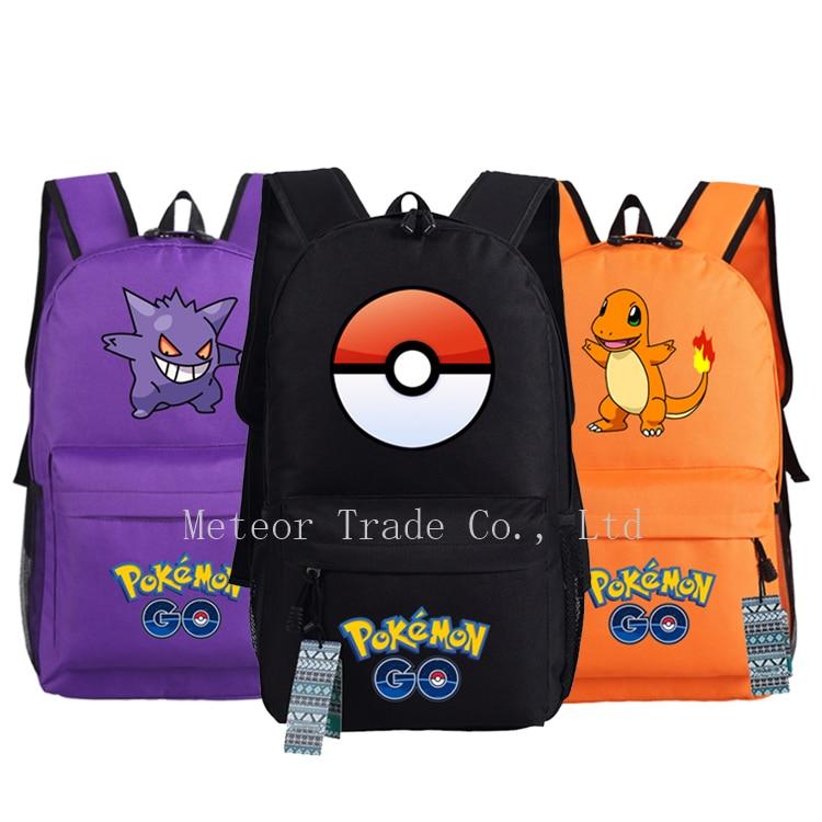 Anime Pokemon Go Game Backpack Boys Girls School Bags Teenagers Pikachu Backpacks Kids Nylon Shoulder Bag Children Rucksack