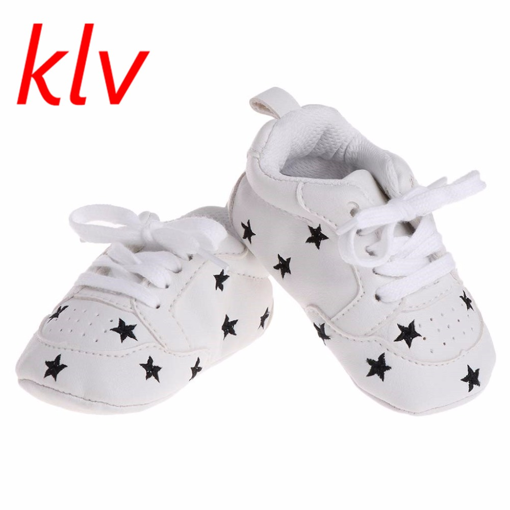 0-18 Month Fashion Spring Autumn Super Soft Faux Leather Star Pattern New Born Infant Baby Prewalker Crib Shoes