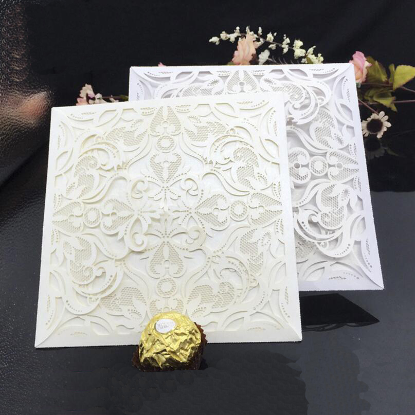 50 Pcs/pack Laser Cut Blank Wedding Invitations Card Envelope Hollow Flowers Anniversary Birthday Party Invitation Card Business square design white laser cut invitations kit blanl paper printing wedding invitation card set send envelope casamento convite