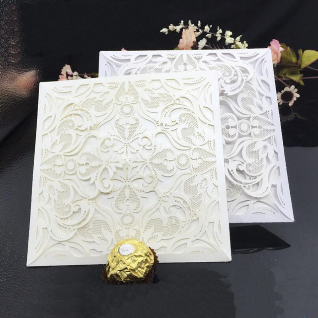 50 pcspack laser cut blank wedding invitations card envelope hollow 50 pcspack laser cut blank wedding invitations card envelope hollow flowers anniversary birthday party filmwisefo