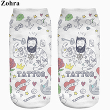 Meias zohra calcetines slippers hosiery sock ankle cut low printing tattoo