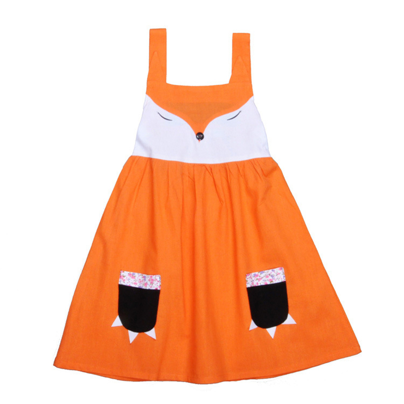 2017 Casual Chidren Girl Dress Summer Kids Vest Dress Animal Fox Print Cotton Sleeveless Kids Dress Fashion Girls Vestidos
