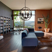 (Shipping From US) Modern Industrial Chandelier 5 Light Hanging Fixture Orb Vintage Round Ball Cage E12