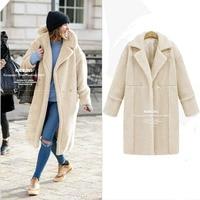 AOTEMAN осень зима искусственный мех пальто для женщин Элегантный с длинным рукавом Дамы Куртка в уличном стиле винтаж теплый искуственный мех...