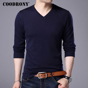 Image 3 - COODRONY Cashmere Sweater Men Brand Clothing 2017 Autumn Winter Thick Warm Wool Sweaters Solid Color V Neck Pullover Shirts 7153