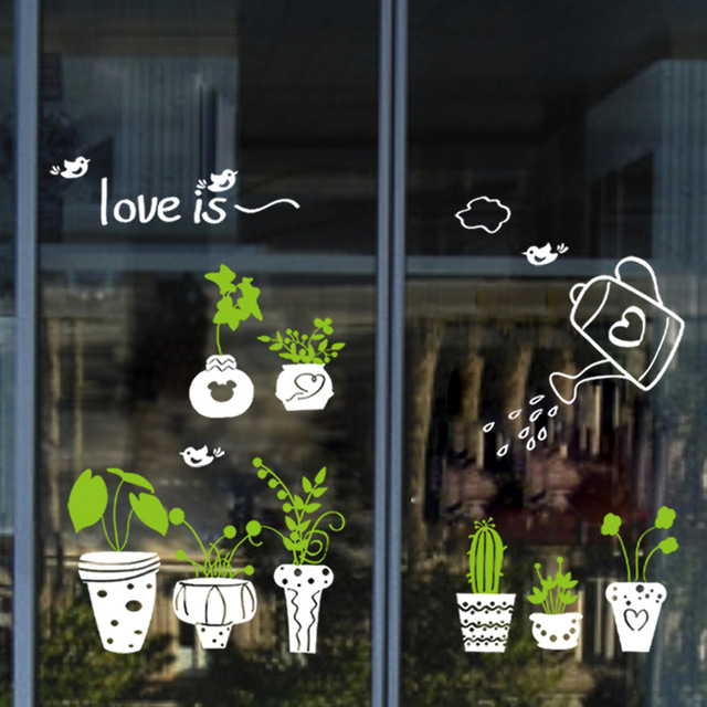 Fresh potted plant wall decal sticker window glass store glass door wall art mural poster home