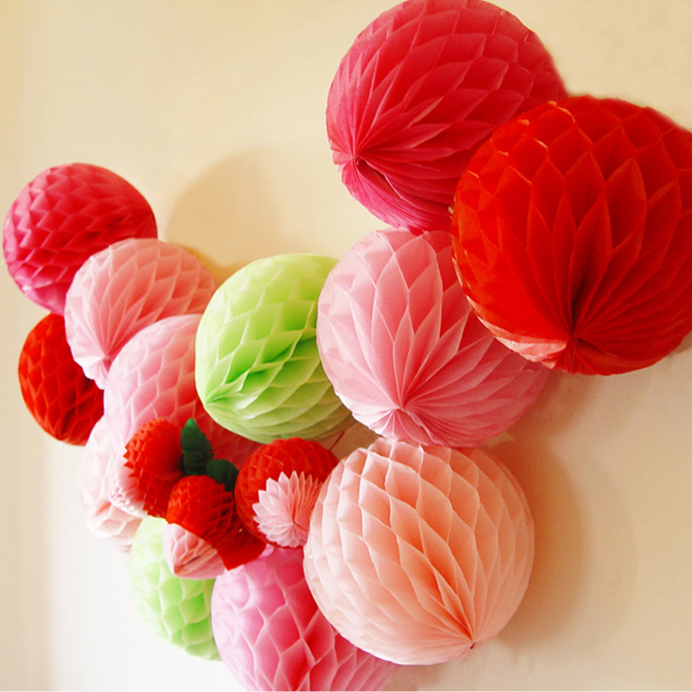 5pcslot Paper Lanterns Tissue Paper Honeycomb Ball 10inch Of