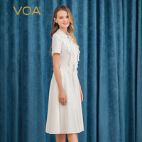 VOA Silk elastic force Heavy Medium and long section Streamer ruffle splice Elegant and romantic X type Slim fit dress A10532