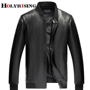 Holyrising Brand Leather Jackets Autumn Men Jaqueta Couro Masculino Bomber PU Leather Jacket Coat Motorcycle Jacket 18348-5