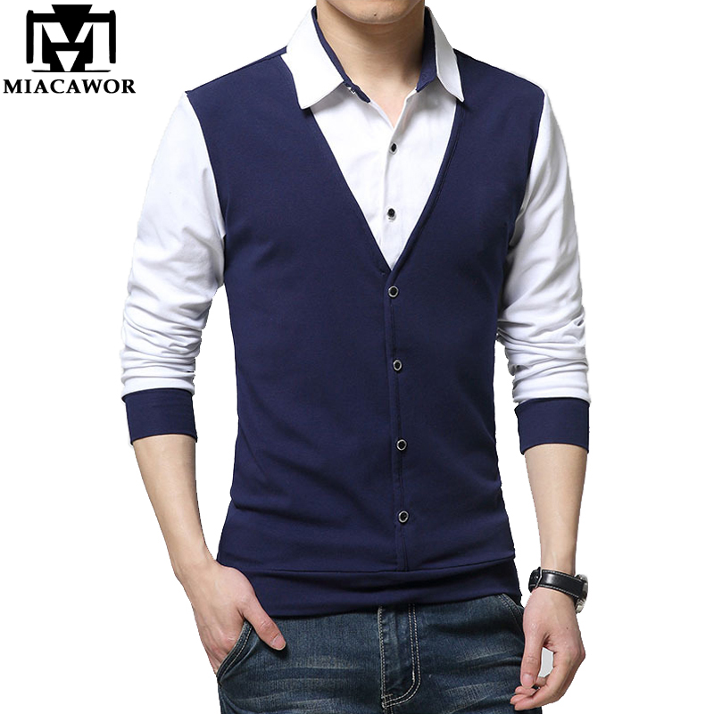 MIACAWOR High Quality Cotton   Polo   Shirt Men Fashion Patchwork Men   Polo   Long sleeve   Polo   Homme Plus Size Camisa Masculina T671