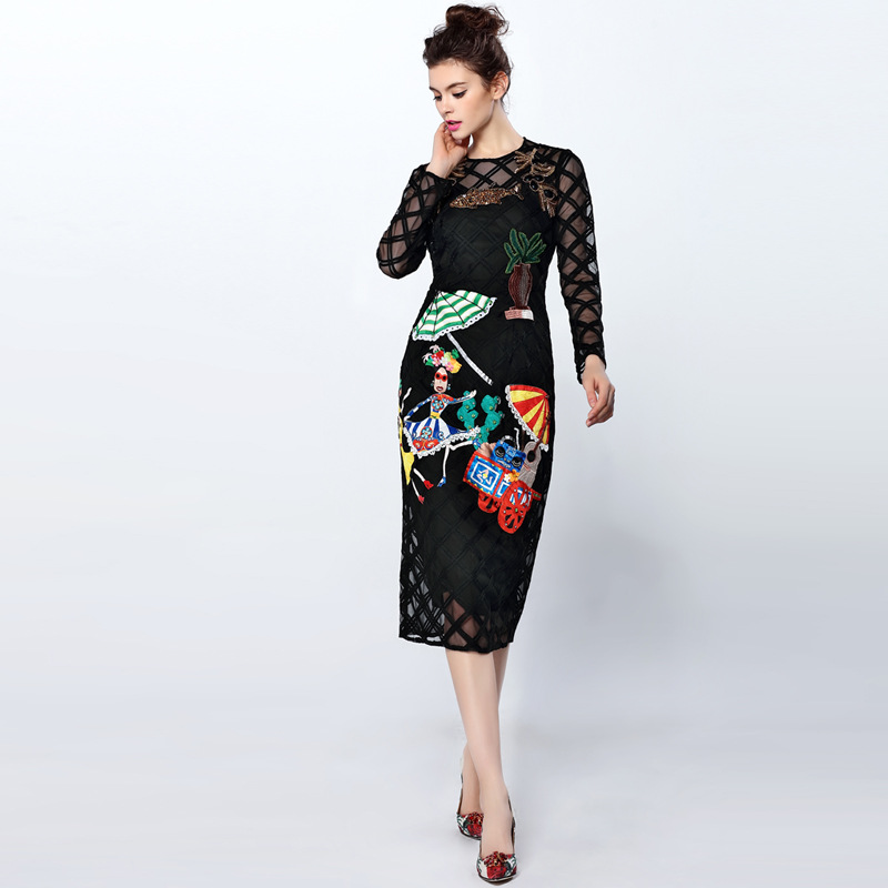 High Quality 2016 Fashion Runway Dress Women's Long Sleece Character Beading diamond embroidery Vintage Sexy Sheath Black Dress