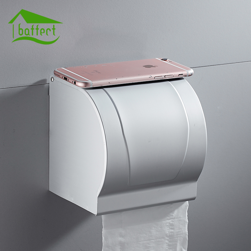 Space Aluminum Postbox Type Toilet Paper Holder Case With Cover Roll Dispenser Bathroom Waterproof Tissue Box Roll Tissue Holder