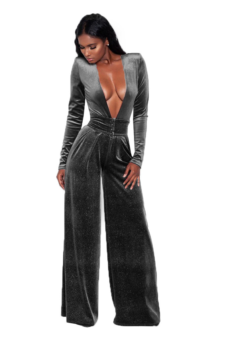 76fd61f99091 Women Velvet Jumpsuit Autumn Winter Sexy Deep V-Neck Glitter Long Sleeve  Rompers Evening Loose Wide Leg Jumpsuit Female Overalls