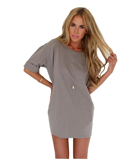 b866486688 US $19.57 |Women Gray Cotton t shirt dress Summer Mini Casual Sexy tshirt  Dresses Girls mujer Plus Size vestidos Clothing Robes femme-in Dresses from  ...