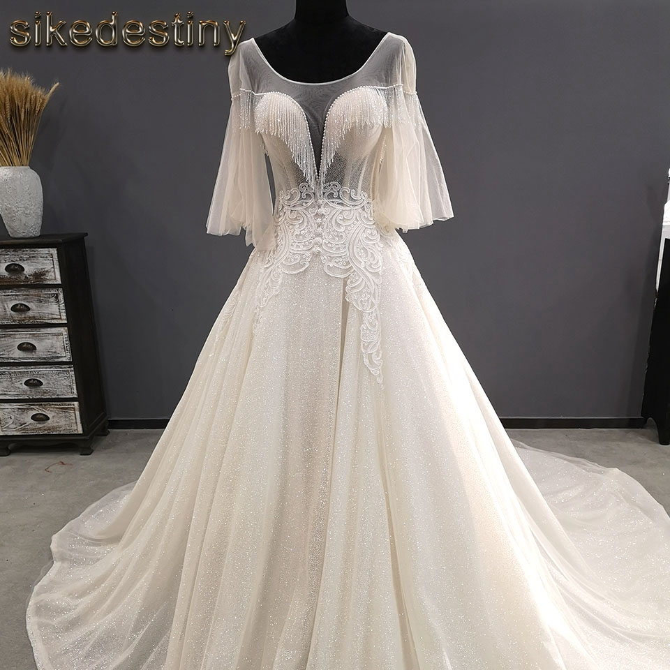 Wedding Dress Bridal Gown vestidos de novia 2018 Batwing Sleeves  bridal gown beaded plus size bridal gown sikedestiny