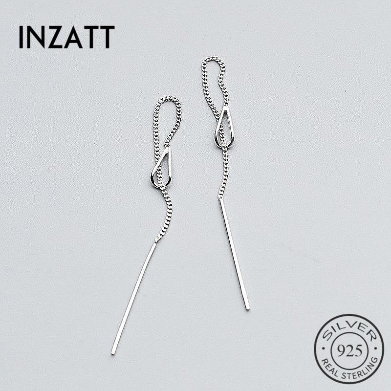 INZATT 925 Sterling Silver 6.3cm Long Tassel Chain Drop Sticker Bar Dangle Drop Earrings For Women Fashion Jewelry Wedding Gift