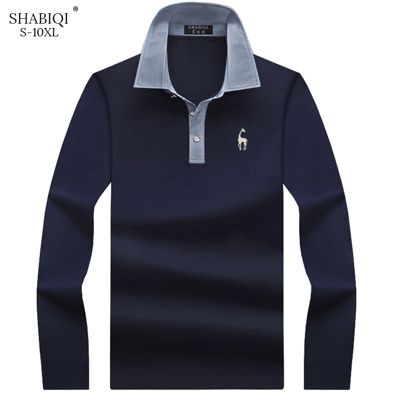 Keep Warm New Fashion Men Polo Shirt Solid Color Slim Fit Polo Men Long Sleeve Mercerized Cotton Casual Polos Shirt Mens S-10XL