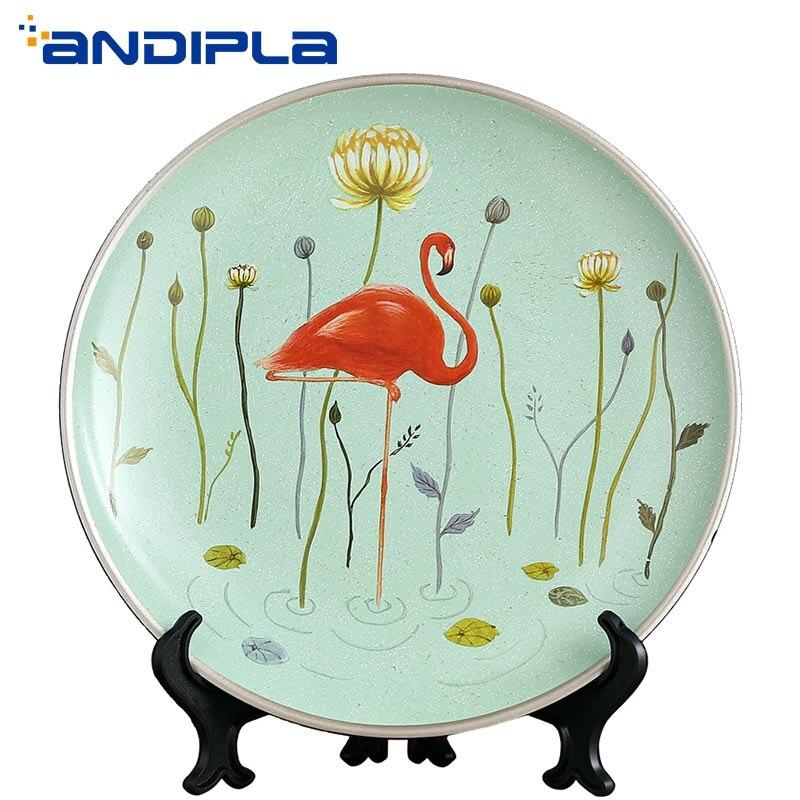 Motif flamant nordique ornements en céramique plaque ronde décoration de la maison artisanat plaque d'affichage bureau salon bureau ornemental