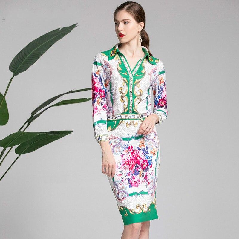 Fixés À Imprimé Deux Multi Fesses Blouse Manches Floral Femmes Piece Perles Élégant Suit Paquet Sexy Longues Été Printemps Chemise Plaid t5aqBw8a