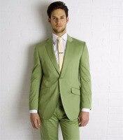 2018 New Style Mens Suits Groomsmen Notch Lapel Groom Tuxedos Green Prom Wedding Best Men Suit 2 Piece (Jacket+Pants)