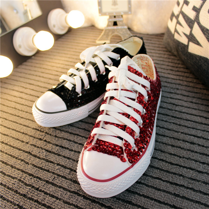 0c2e54b56e7d 2015 Wholesale price women glitter sneakers Red/silver/black women lace up  shoes bling bling sneakers free drop shipping-in Men's Casual Shoes from  Shoes on ...