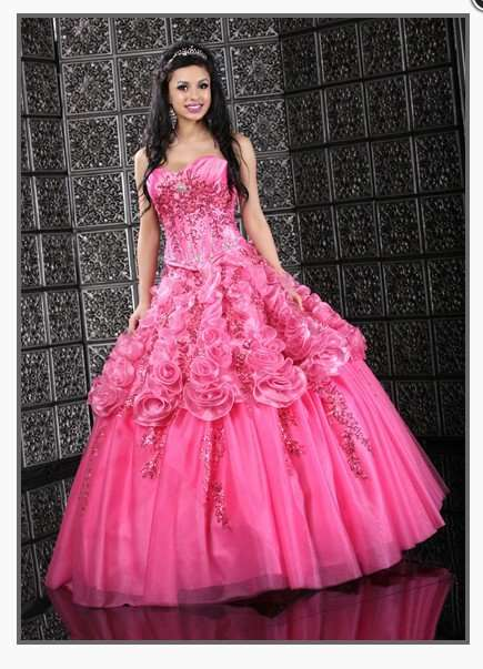 f4d0ce40519 Hot Pink Taffeta Organza Tulle rose flowers beading embroidery Ball Gown  Quinceanera Dress