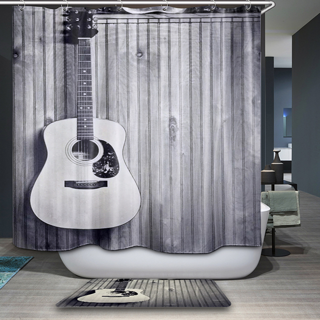 Guitar Polyester Fabric Shower Curtain Waterproof Home Bathroom Curtains Music Notes Bath Crutain For The