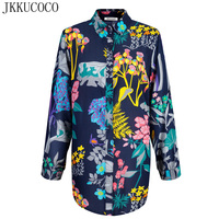 JKKUCOCO 2017 Newest Women Shirts Chinese Style Nice Flowers Print Shirt Women Shirts Summer Cotton Shirt