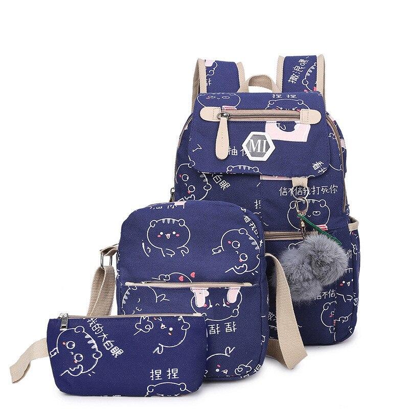 Большой Ёмкость Школьные ранцы для подростков Обувь для девочек милые дамы печати рюкзак комплект Для женщин Дорожная сумка Рюкзак Книга Ba ...