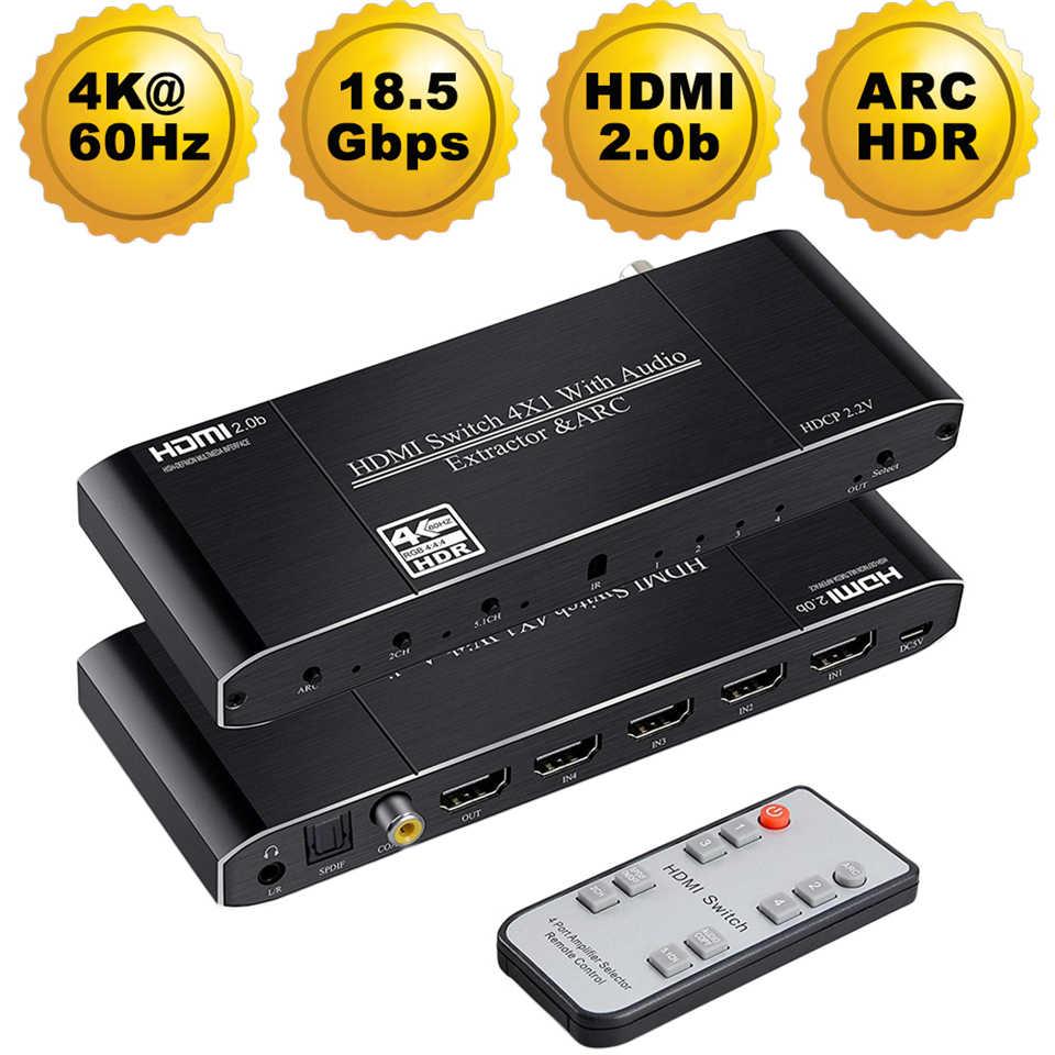 Мини 4x1 4K HDMI переключатель аудио экстрактор с ARC и оптический Toslink HDMI 2,0 переключатель 4K 60Hz HDMI переключатель дистанционного управления для Apple tv PS4