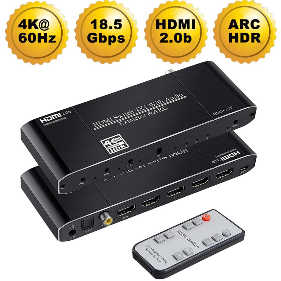 Mini 4x1 4K HDMI interruptor Audio Extractor con arco y óptico Toslink HDMI 2,0 interruptor de 4K interruptor remoto HDMI de 60Hz para Apple TV PS4-in Cables HDMI from Productos electrónicos on AliExpress - 11.11_Double 11_Singles' Day 1